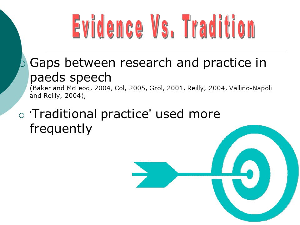  Gaps between research and practice in paeds speech (Baker and McLeod, 2004, Col, 2005, Grol, 2001, Reilly, 2004, Vallino-Napoli and Reilly, 2004),  ' Traditional practice ' used more frequently