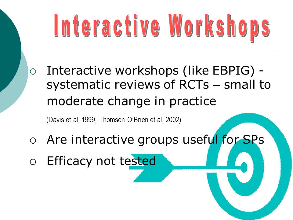  Interactive workshops (like EBPIG) - systematic reviews of RCTs – small to moderate change in practice (Davis et al, 1999, Thomson O'Brien et al, 20