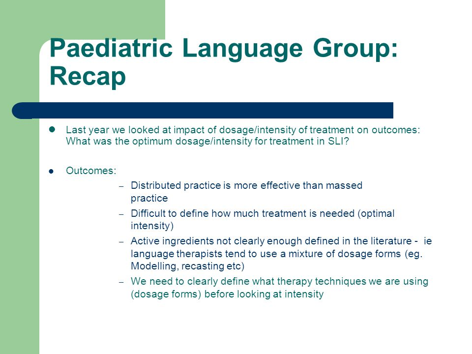 In Summary Things to consider: – Child's MLU – Choosing specific targets during recasting – Adequate rate/intensity of recasts or MT episodes – The types of recasts provided eg.