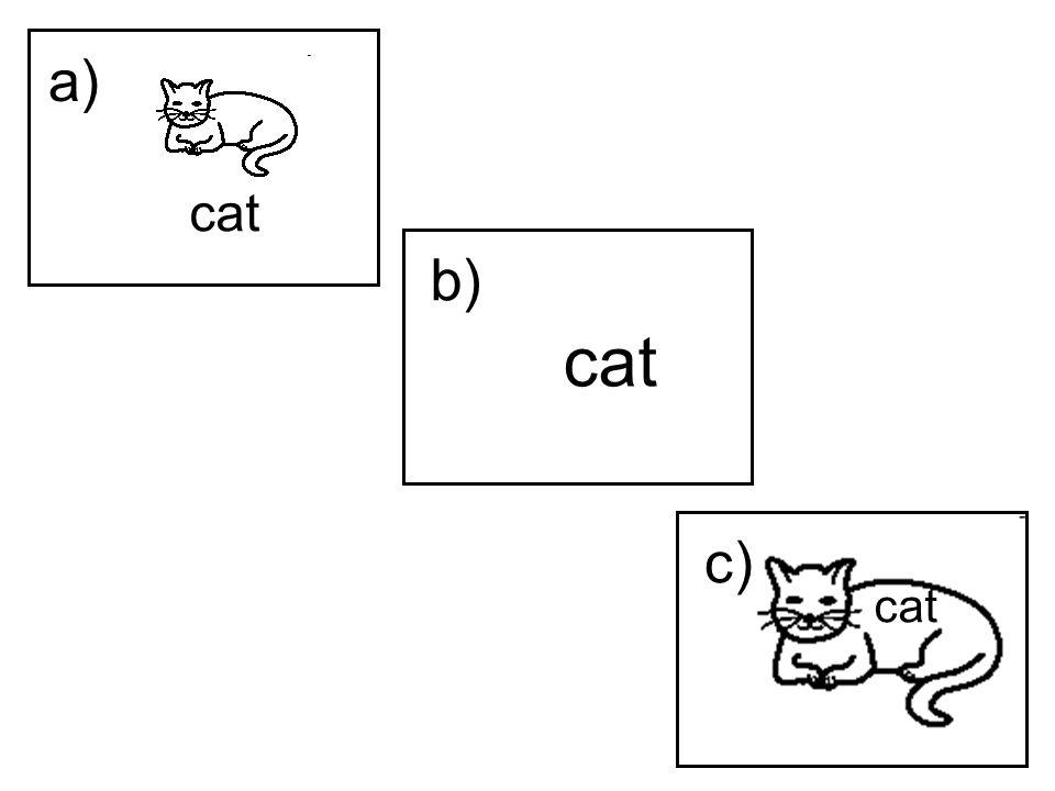 cat b) cat c) a)