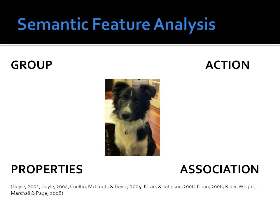  Semantic feature analysis therapy is provided at word level BUT our treatment goals are discourse based  Clinical Question: For people with aphasia, in what circumstances does SFA improve  Naming of treated items  Naming of untreated items  Generalisation to spontaneous speech