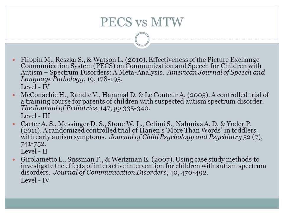 PECS vs MTW Flippin M., Reszka S., & Watson L. (2010).
