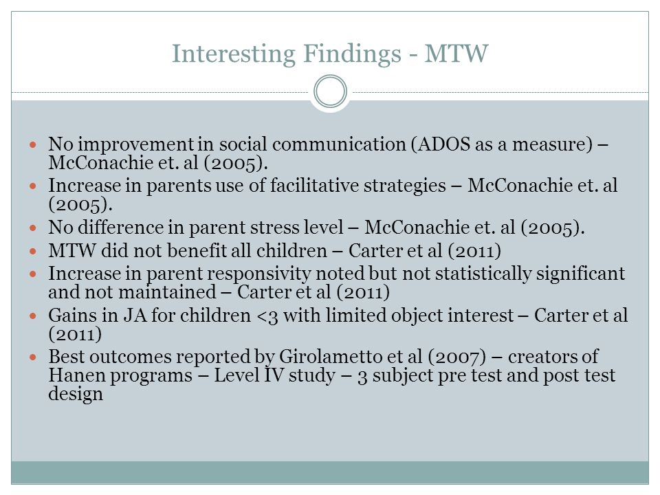 Interesting Findings - MTW No improvement in social communication (ADOS as a measure) – McConachie et.