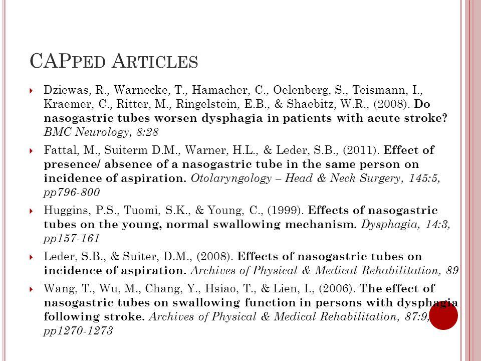 CAP PED A RTICLES  Dziewas, R., Warnecke, T., Hamacher, C., Oelenberg, S., Teismann, I., Kraemer, C., Ritter, M., Ringelstein, E.B., & Shaebitz, W.R., (2008).