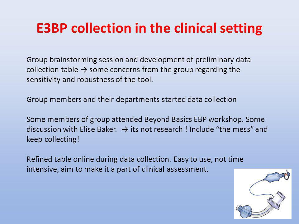 E3BP collection in the clinical setting Group brainstorming session and development of preliminary data collection table → some concerns from the grou