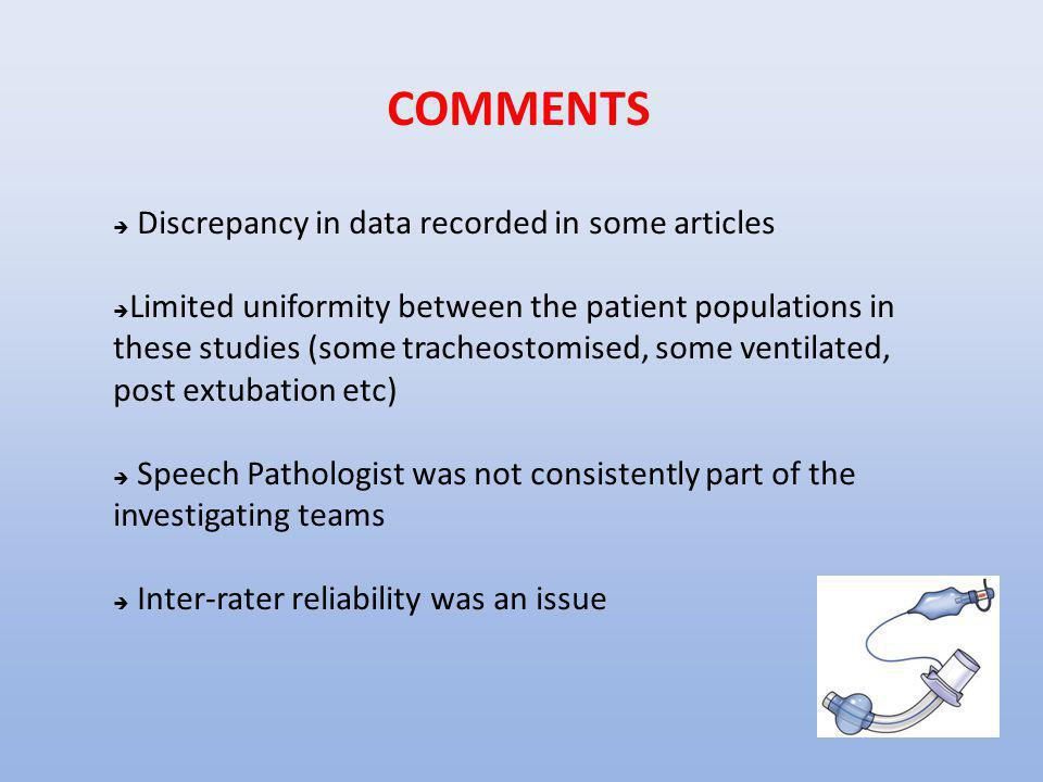 COMMENTS  Discrepancy in data recorded in some articles  Limited uniformity between the patient populations in these studies (some tracheostomised,