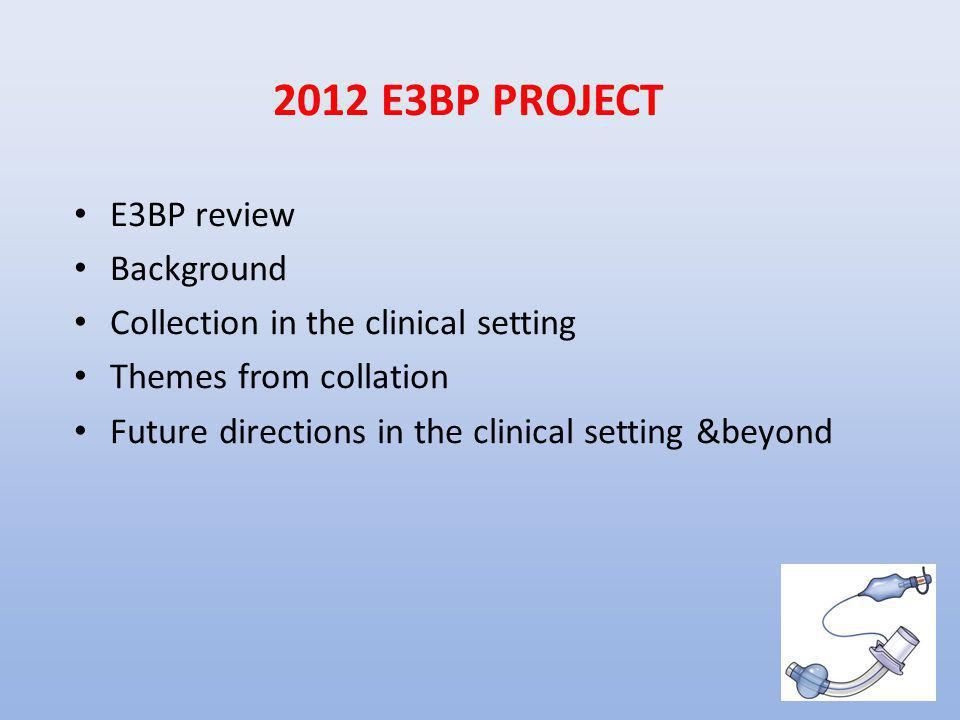 2012 E3BP PROJECT E3BP review Background Collection in the clinical setting Themes from collation Future directions in the clinical setting &beyond