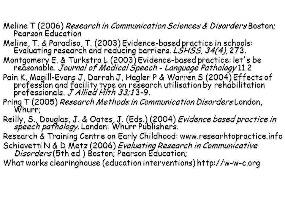 Meline T (2006) Research in Communication Sciences & Disorders Boston; Pearson Education Meline, T.