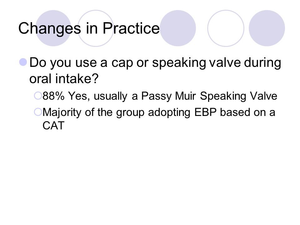Changes in Practice Do you use a cap or speaking valve during oral intake?  88% Yes, usually a Passy Muir Speaking Valve  Majority of the group adop