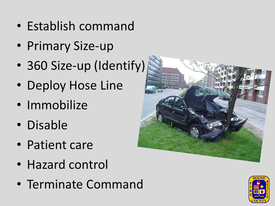 Establish command Primary Size-up 360 Size-up (Identify) Deploy Hose Line Immobilize Disable Patient care Hazard control Terminate Command