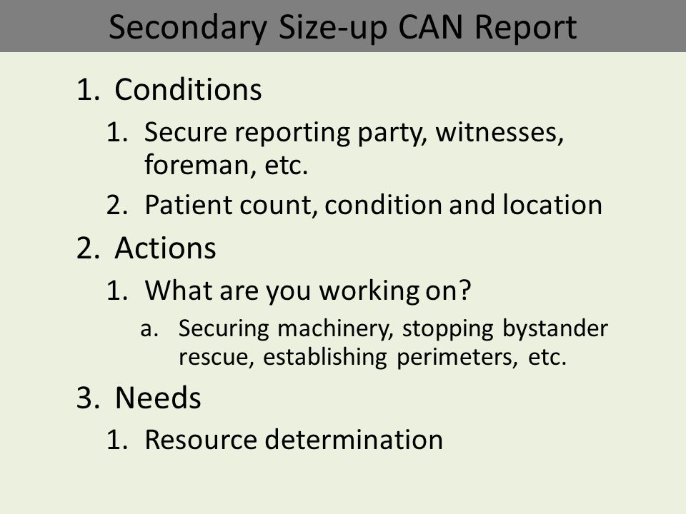Take Command of the event Think with your head, not your heart Identify the type of event you are at Size-up (Situational Assessment) – Primary – Secondary Technical Rescue Benchmarks