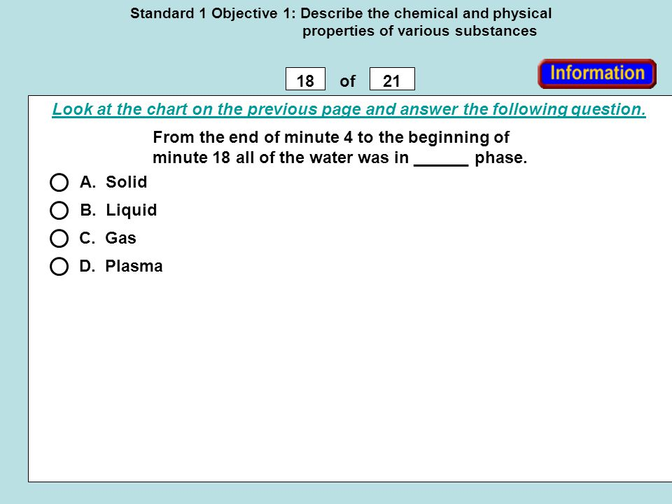 Standard 1 Objective 1: Describe the chemical and physical properties of various substances 1821of From the end of minute 4 to the beginning of minute