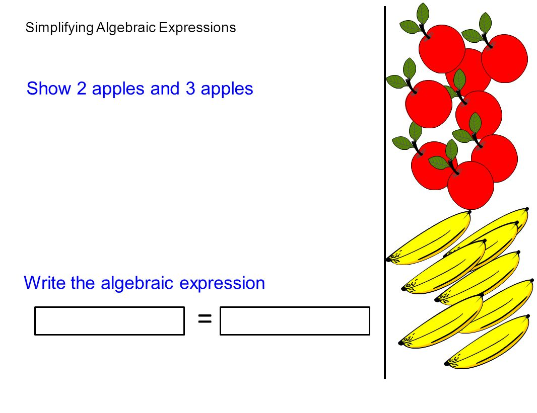 Simplifying Algebraic Expressions Show 2 apples and 3 apples Write the algebraic expression =