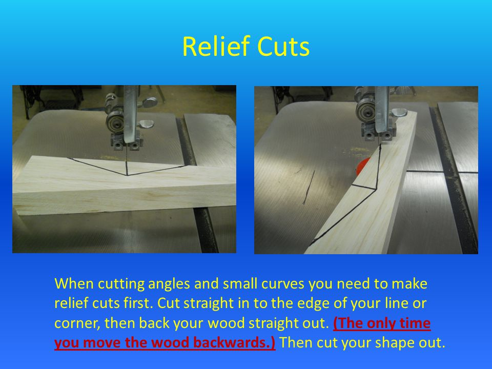 Relief Cuts When cutting angles and small curves you need to make relief cuts first. Cut straight in to the edge of your line or corner, then back you