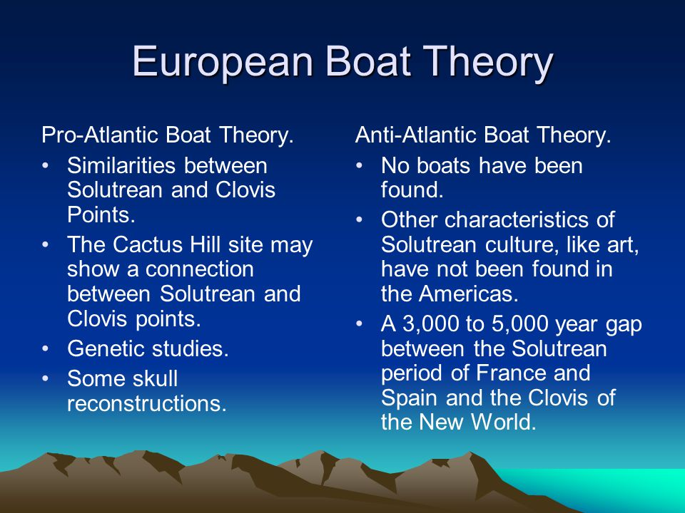 European Boat Theory Pro-Atlantic Boat Theory. Similarities between Solutrean and Clovis Points. The Cactus Hill site may show a connection between So