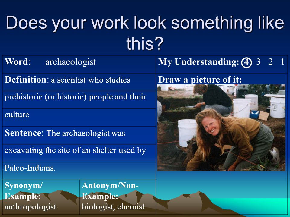 Does your work look something like this? Word: archaeologistMy Understanding: 4 3 2 1 Definition: a scientist who studies Draw a picture of it: prehis