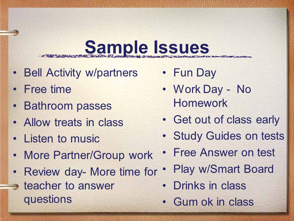 Sample Issues Bell Activity w/partners Free time Bathroom passes Allow treats in class Listen to music More Partner/Group work Review day- More time f