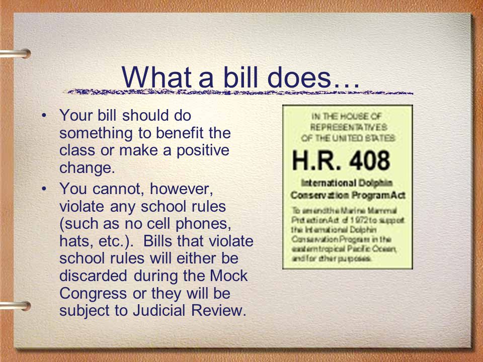 A Good Bill… A good bill is well thought out, carefully considers all of the possible consequences of the law, and will take steps to make sure the class suffers no negative side effects.