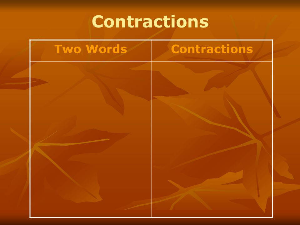 Contractions Two WordsContractions