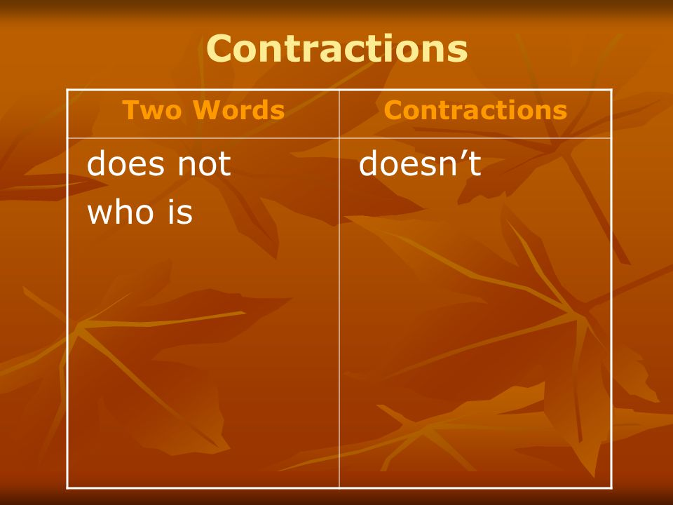 Contractions Two WordsContractions does not who is doesn't