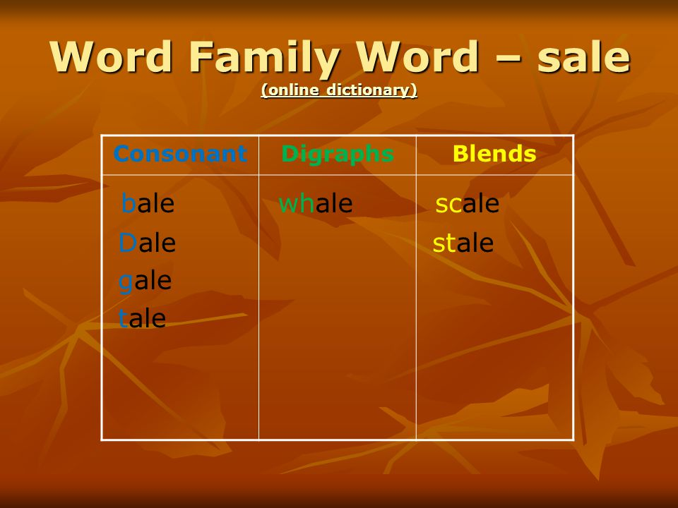 Word Family Word – sale (online dictionary) (online dictionary) (online dictionary) ConsonantDigraphsBlends bale Dale gale tale whale scale stale