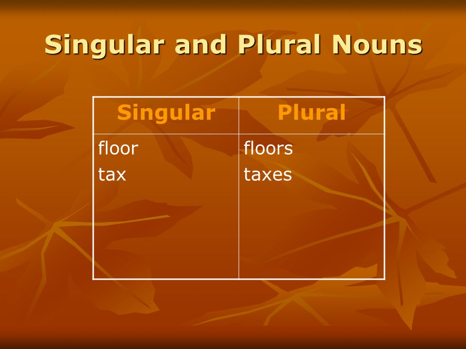 Singular and Plural Nouns SingularPlural floor tax floors taxes