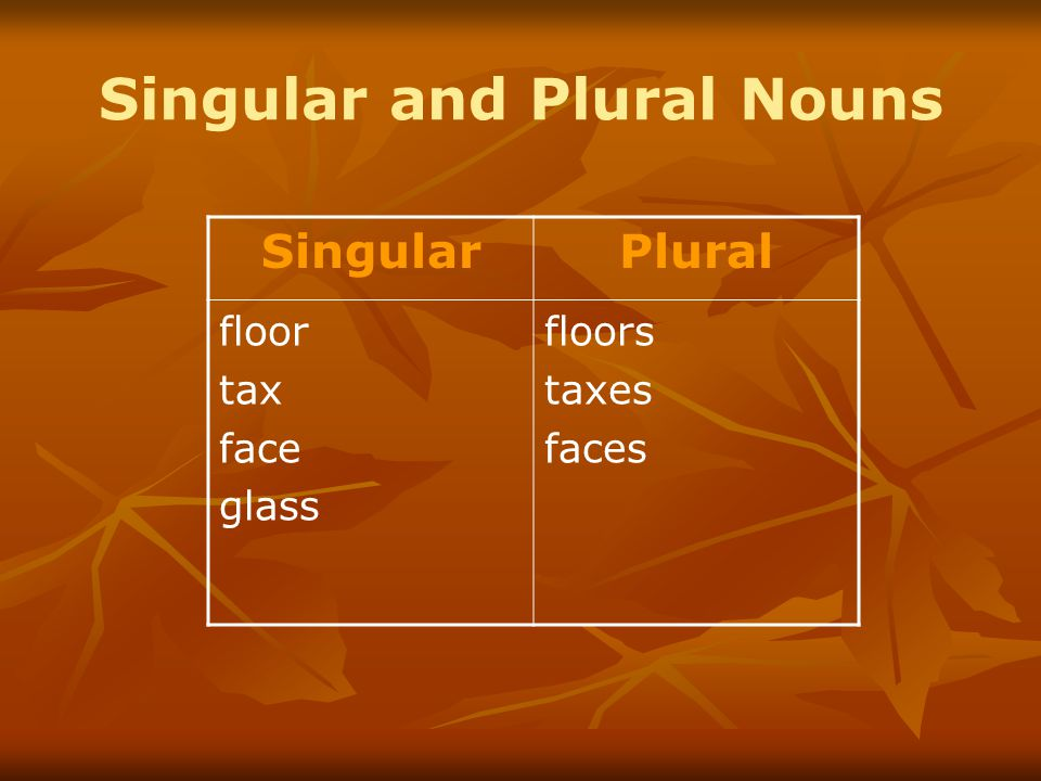 Singular and Plural Nouns SingularPlural floor tax face glass floors taxes faces
