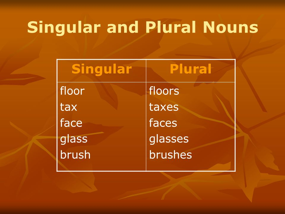 Singular and Plural Nouns SingularPlural floor tax face glass brush floors taxes faces glasses brushes