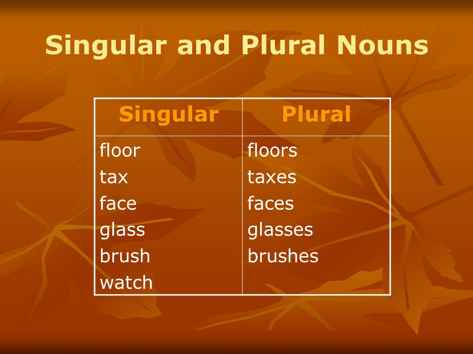 Singular and Plural Nouns SingularPlural floor tax face glass brush watch floors taxes faces glasses brushes
