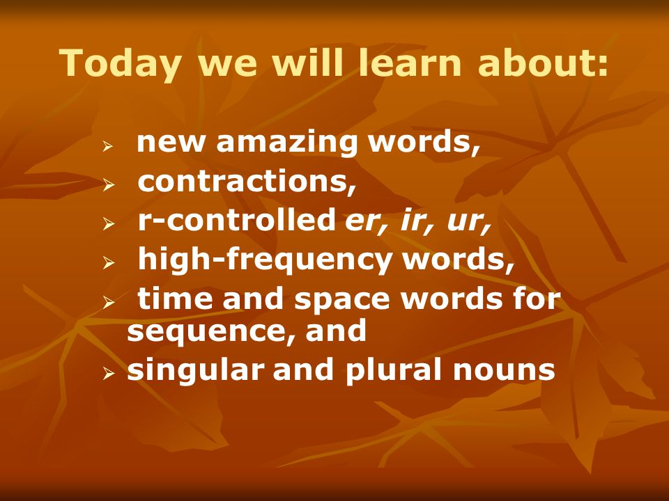 Today we will learn about:   new amazing words,   contractions,   r-controlled er, ir, ur,   high-frequency words,   time and space words for sequence, and   singular and plural nouns