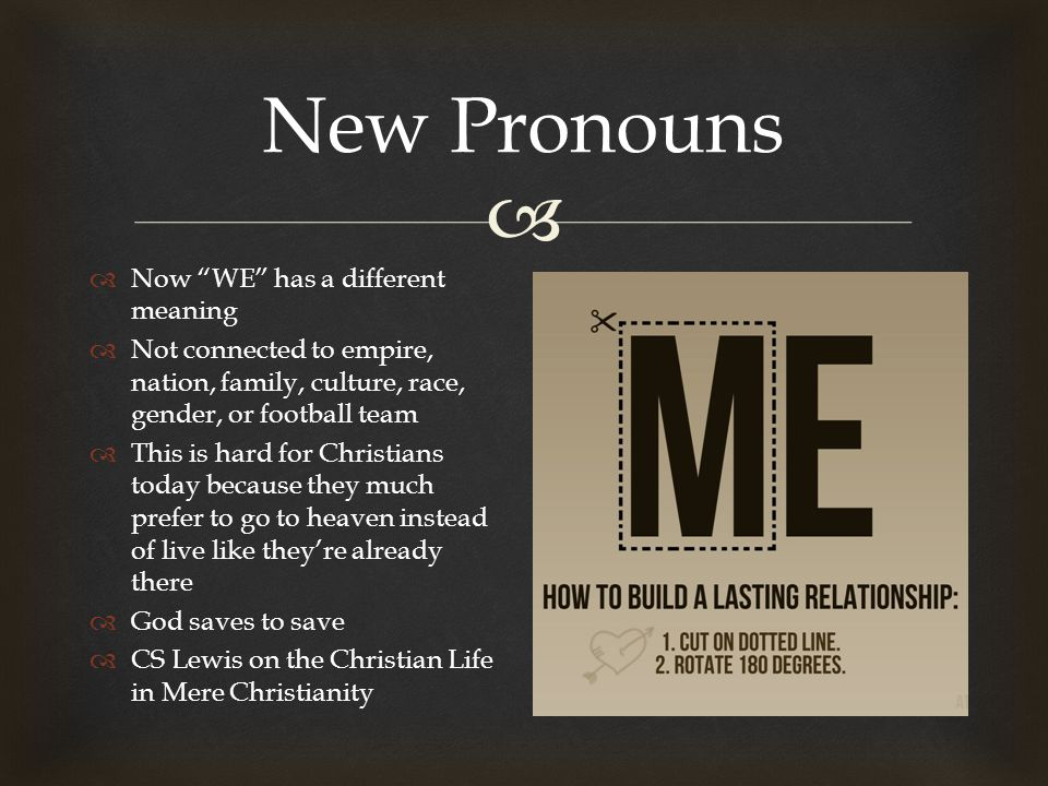  New Pronouns  Now WE has a different meaning  Not connected to empire, nation, family, culture, race, gender, or football team  This is hard for Christians today because they much prefer to go to heaven instead of live like they're already there  God saves to save  CS Lewis on the Christian Life in Mere Christianity