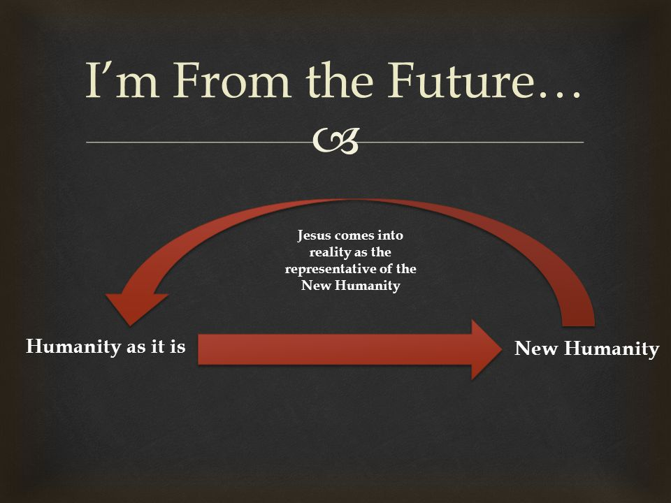  I'm From the Future… Humanity as it is Jesus comes into reality as the representative of the New Humanity New Humanity