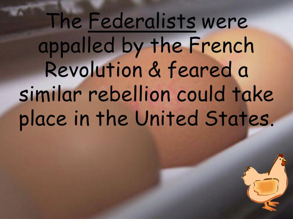 The _________ were appalled by the French Revolution & feared a similar rebellion could take place in the United States.