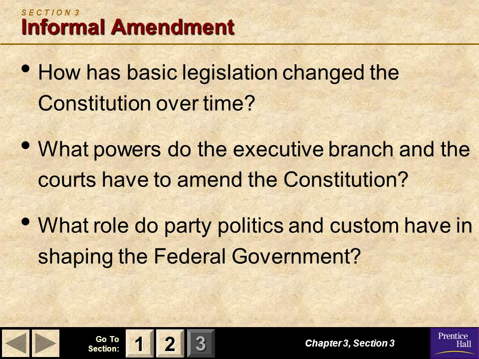 123 Go To Section: Chapter 3, Section 3 Informal Amendment S E C T I O N 3 Informal Amendment How has basic legislation changed the Constitution over time.