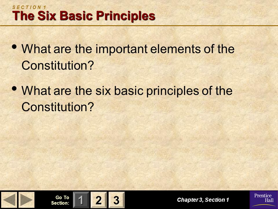 123 Go To Section: Chapter 3, Section 1 The Six Basic Principles S E C T I O N 1 The Six Basic Principles What are the important elements of the Constitution.