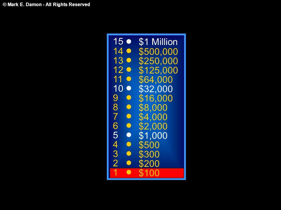 15 14 13 12 11 10 9 8 7 6 5 4 3 2 1 $1 Million $500,000 $250,000 $125,000 $64,000 $32,000 $16,000 $8,000 $4,000 $2,000 $1,000 $500 $300 $200 $100 Welc
