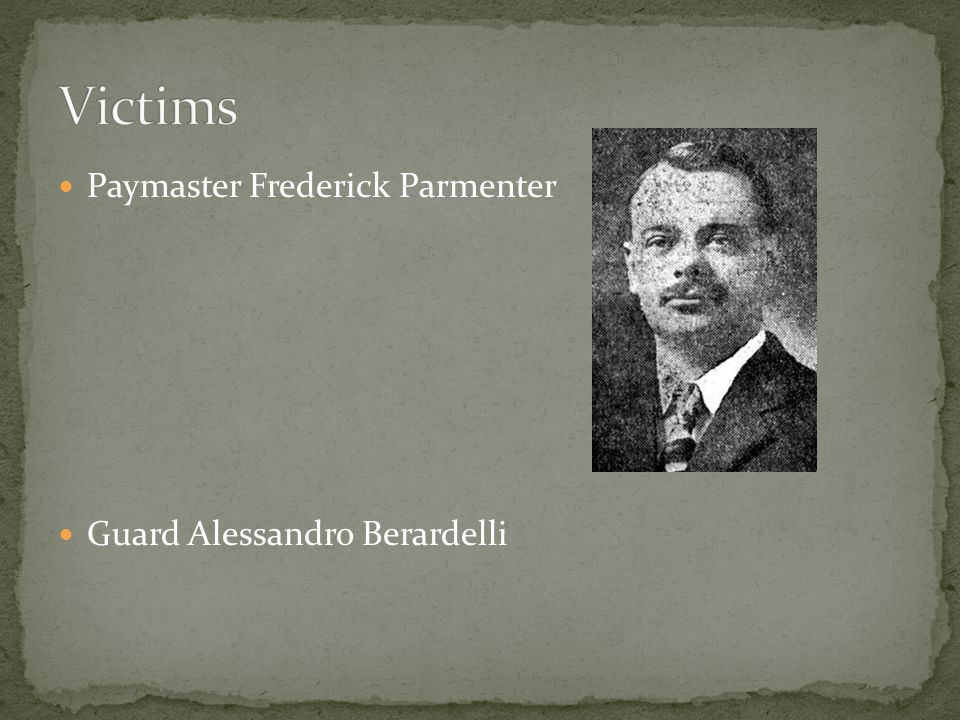 Paymaster Frederick Parmenter Guard Alessandro Berardelli