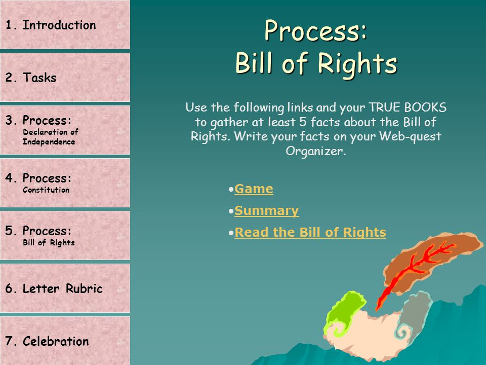 Process: Bill of Rights Use the following links and your TRUE BOOKS to gather at least 5 facts about the Bill of Rights.
