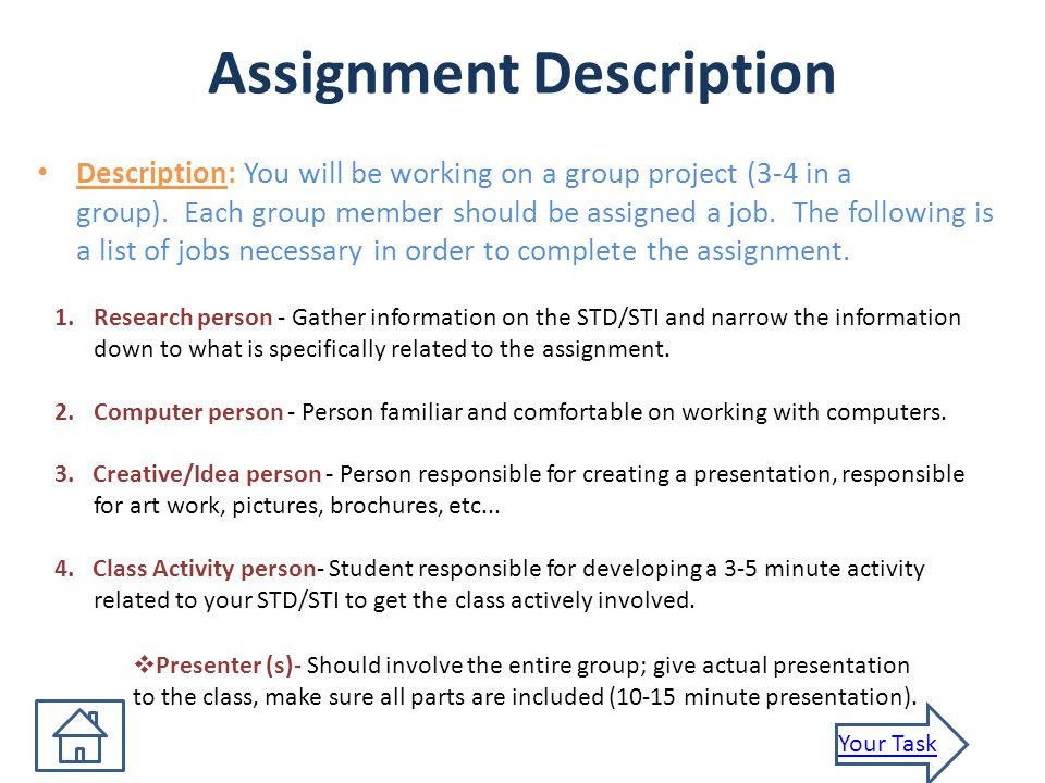 Assignment Description Description: You will be working on a group project (3-4 in a group).
