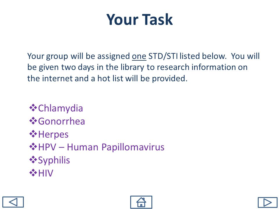 Your group will be assigned one STD/STI listed below.