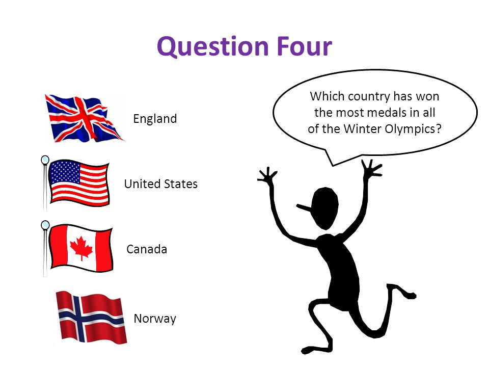 Question Four Which country has won the most medals in all of the Winter Olympics.