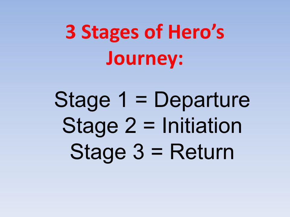 Stage 1 = Departure Stage 2 = Initiation Stage 3 = Return 3 Stages of Hero's Journey: