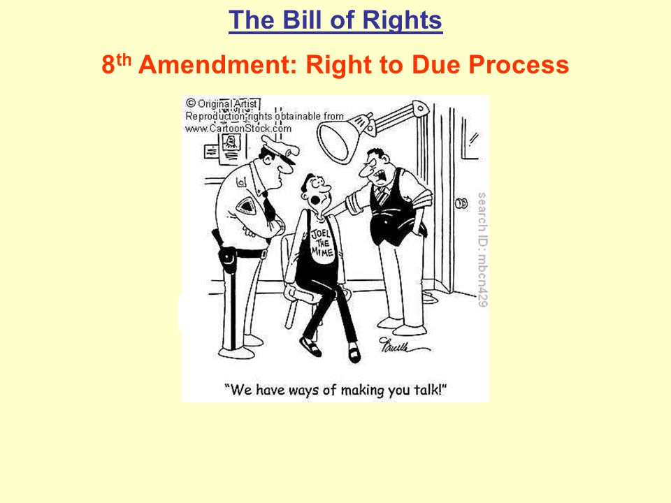 The Bill of Rights 8 th Amendment: Right to Due Process