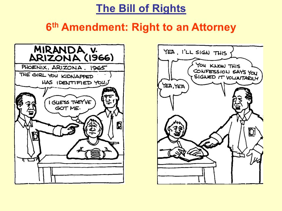 The Bill of Rights 6 th Amendment: Right to an Attorney