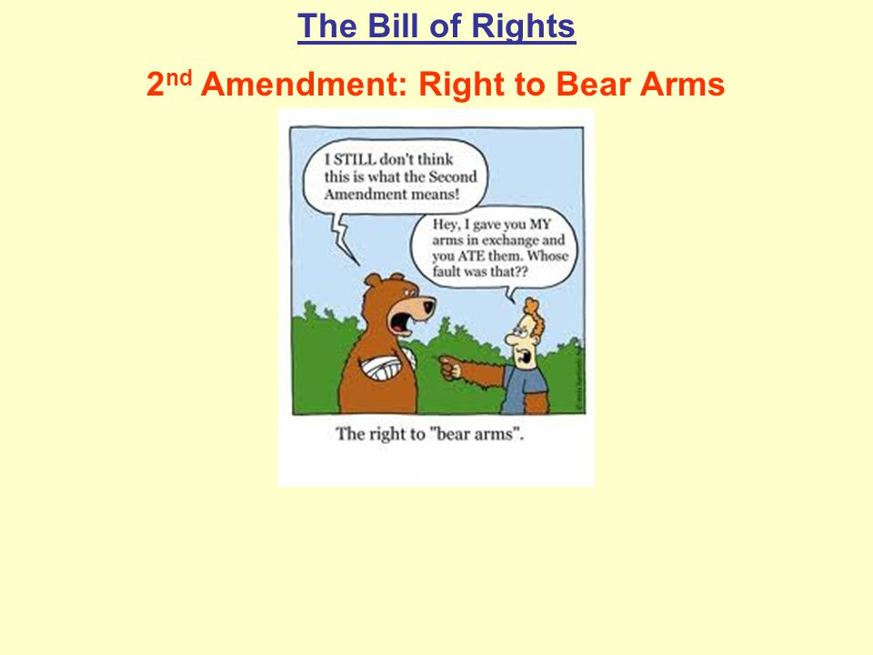 The Bill of Rights 2 nd Amendment: Right to Bear Arms