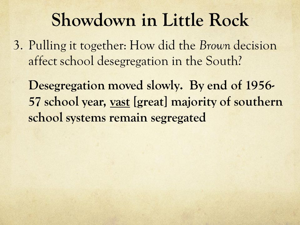 Showdown in Little Rock 3.Pulling it together: How did the Brown decision affect school desegregation in the South.