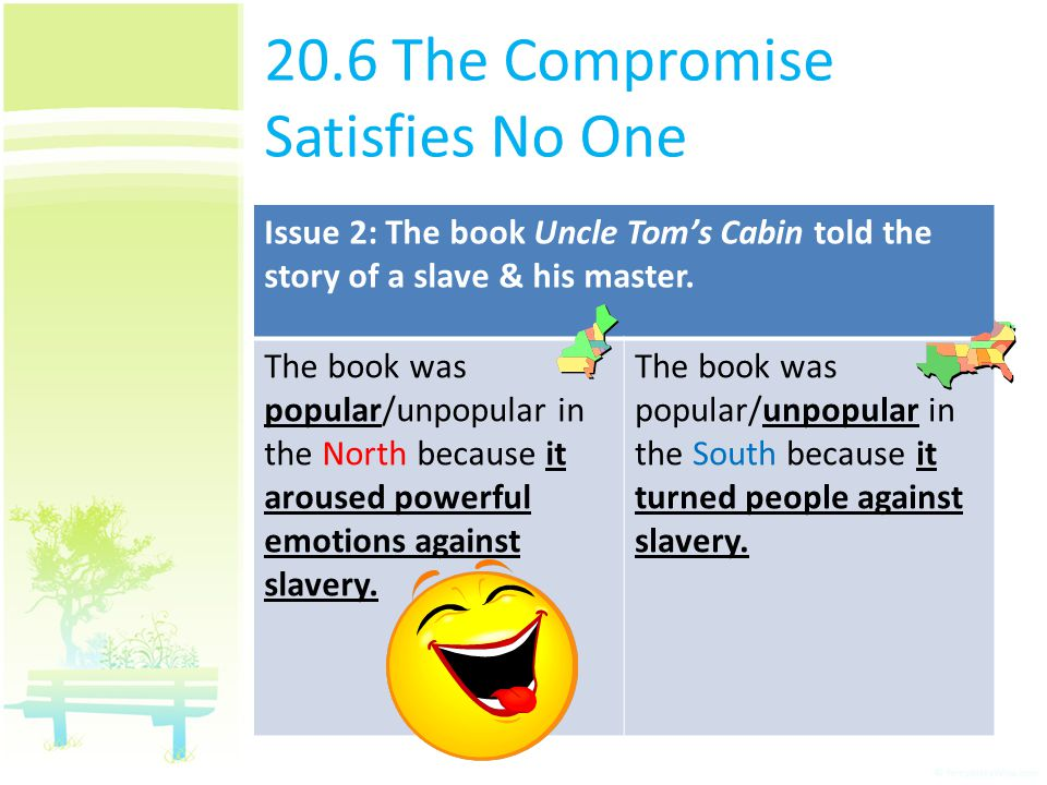 20.6 The Compromise Satisfies No One Issue 2: The book Uncle Tom's Cabin told the story of a slave & his master. The book was popular/unpopular in the