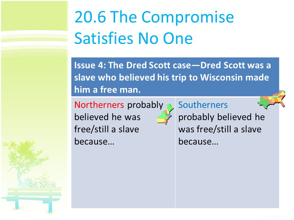 20.6 The Compromise Satisfies No One Issue 4: The Dred Scott case—Dred Scott was a slave who believed his trip to Wisconsin made him a free man. North