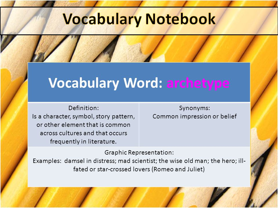 Vocabulary Word: Denotation Definition: the direct or dictionary definition of a word or words Synonyms: Definition, literal meaning Graphic Representation: