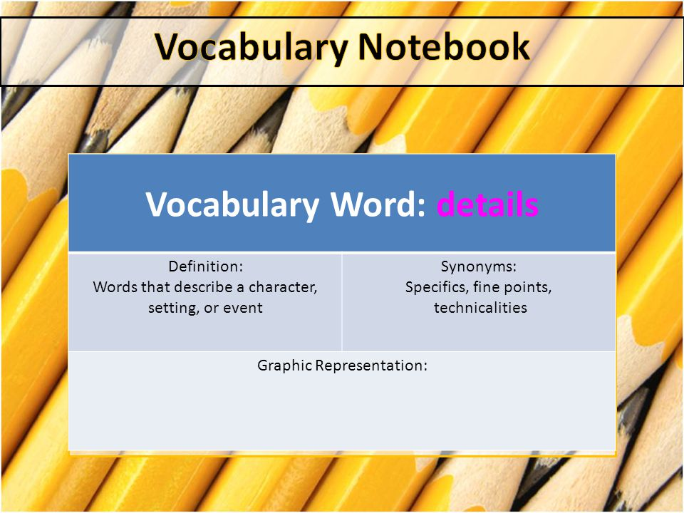 Vocabulary Word: Context Definition: the circumstances or facts that surround a particular event or situation Synonyms: background situation surroundings Graphic Representation: